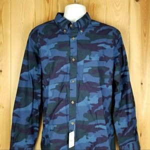Brooks Brothers Mens XL Button Down Blue Camo NEW